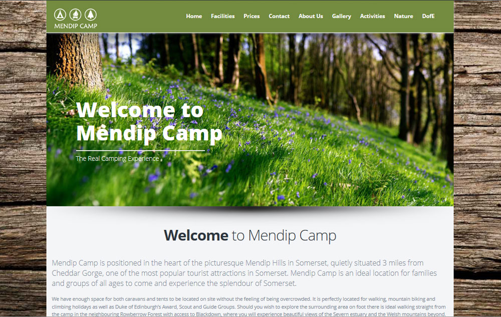 Mendip Camp Front Page
